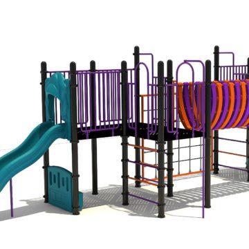Klimtoestel met verschillende kleuren onderdelen en twee glijbanen - Klimtoestellen met glijbaan - Speeltoestellen - LuduQ speeltoestellen