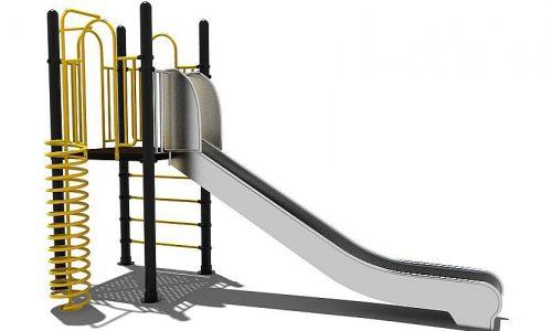 Deventer is een speeltoestel van metaal met rvs glijbaan
