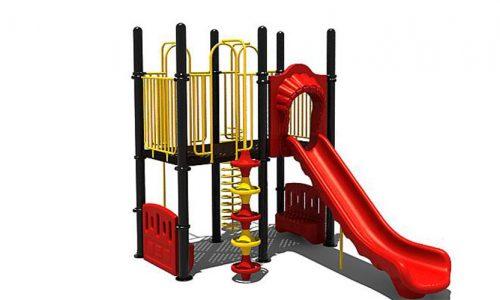 Speeltoestel met rode kunststoffen glijbaan - Klimtoestellen met glijbaan - Speeltoestellen - LuduQ speeltoestellen