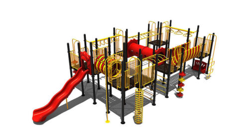 Geel klimtoestel met rode kunststof tunnel en glijbaan - Klimtoestellen met glijbaan - Speeltoestellen - LuduQ speeltoestellen