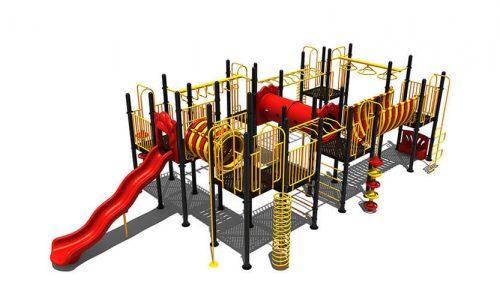 Almere speeltoestel van metaal met glijbaan - Speeltoestellen - LuduQ speeltoestellen