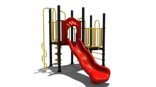 Voorkant zwart met geel speeltoestel met rode glijbaan van kunststof - Klimtoestellen met glijbaan - LuduQ speeltoestellen