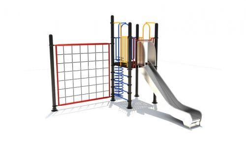 Zwolle is een speeltoestel van metaal met rvs glijbaan - Klimtoestellen met glijbaan - Speeltoestellen - LuduQ speeltoestellen