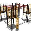 Zijkant klimtoestel met draai- en hangelementen - Klimtoestellen met glijbaan - Speeltoestellen - LuduQ speeltoestellen