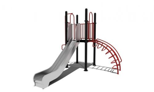 Lelystad klimtoestel RVS glijbaan - Klimtoestellen met glijbaan - Speeltoestellen - LuduQ speeltoestellen