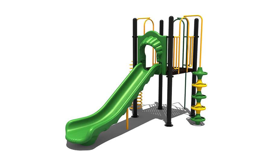 Digitaal getekend groen met geel klimtoestel met glijbaan - Klimtoestellen met glijbaan - Speeltoestellen - LuduQ speeltoestellen