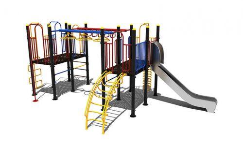 Klimtoestel met hang en draaielementen en roestvrij stalen glijbaan - Klimtoestellen met glijbaan - Speeltoestellen - LuduQ speeltoestellen