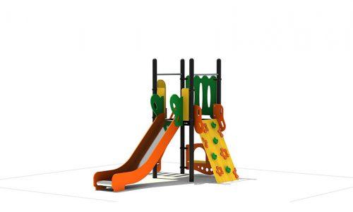 Brno is een modern vorm gegeven klimtoestel van metaal met RVS glijbaan - XYZ Fantasia - Speeltoestellen - LuduQ speeltoestellen