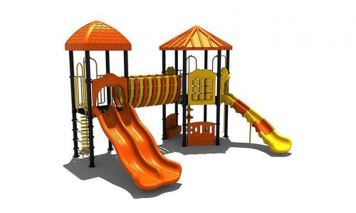 Kiruna uitdagend klimtoestel en speelhuis met glijbanen - Klimtoestellen met glijbaan - Speeltoestellen - LuduQ speeltoestellen