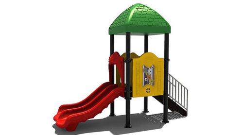 Geel speelhuisje met groen dak en rode glijbaan - Klimtoestellen met glijbaan - LuduQ speeltoestellen