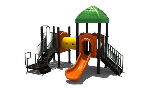 Klimtoestel met tunnel en groen dak - Klimtoestellen met glijbaan - Speeltoestellen - LuduQ speeltoestellen
