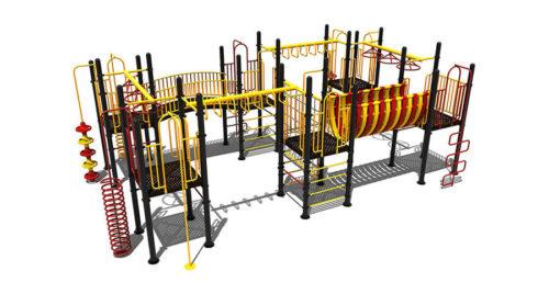 Tiel klimtoestel van metaal met uitdagende speelelementen en rondgang - Klimtoestellen - Speeltoestellen - LuduQ speeltoestellen