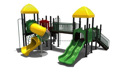 Groen klimtoestel met drie glijbanen en een brug - Klimtoestellen met glijbaan - Speeltoestellen - LuduQ speeltoestellen