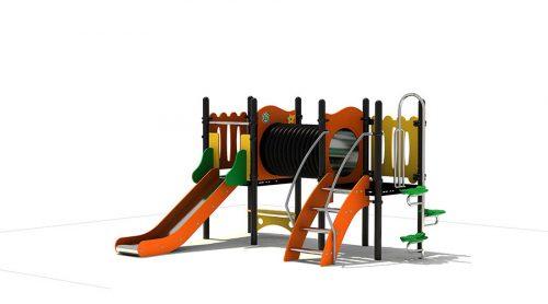 Voorkant kleurrijk speeltoestel met tunnel en glijbaan - XYZ Fantasia - Speeltoestellen - LuduQ speeltoestellen