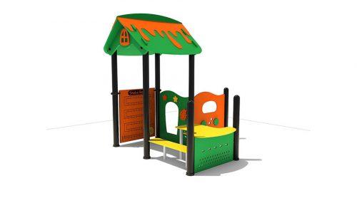 Groen oranje speelhuisje met gele tafel en bankjes - XYZ Fantasia - Speeltoestellen - LuduQ speeltoestellen