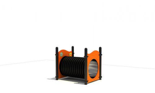 De Roa is een uitdagend en modern vorm gegeven klimbuis-Tunnel met oranje panelen - XYZ Fantasia - Speeltoestellen - LuduQ speeltoestellen
