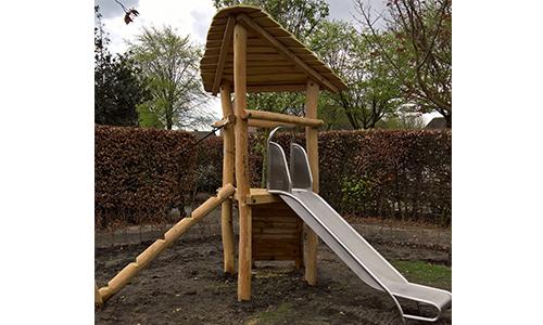 Robinia combinatietoestel met glijbaan in park - Houten klimtoestellen met glijbaan - Speeltoestellen - LuduQ speeltoestellen