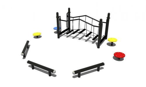 Chengdu metalen evenwichtsparcours kleurrijke elementen - Balanceren - Speeltoestel - LuduQ speeltoestellen