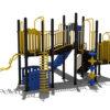 Geel klimtoestel met verschillende onderdelen en blauwe glijbaan - Klimtoestellen met glijbaan - Speeltoestellen - LuduQ speeltoestellen