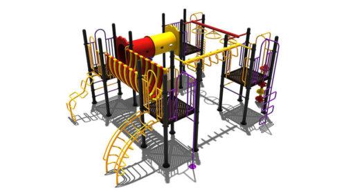 Klimtoestel met veel onderdelen en kleuren - Klimtoestellen - Speeltoestellen - LuduQ speeltoestellen