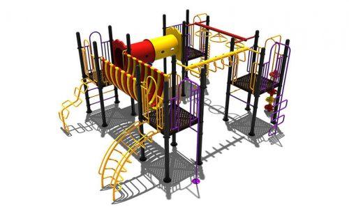 Diever is een klimtoestel van metaal met uitdagende speelelementen en een rondgang - Klimtoestellen - Speeltoestellen - LuduQ speeltoestellen