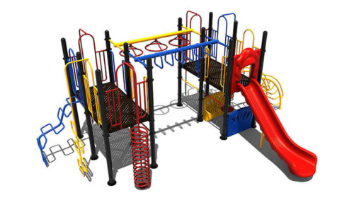 Kleurrijk klimtoestel met glijbaan en twee bankjes - Klimtoestellen met glijbaan - Speeltoestellen - LuduQ speeltoestellen