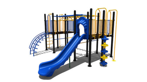Voorkant groot blauw klimtoestel met glijbaan en gele accenten - Klimtoestellen met glijbaan - Speeltoestellen - LuduQ speeltoestellen