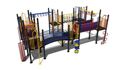 Kleurrijk klimtoestel met klim- hang- en draaielementen - Klimtoestellen met glijbaan - Speeltoestellen - LuduQ speeltoestellen