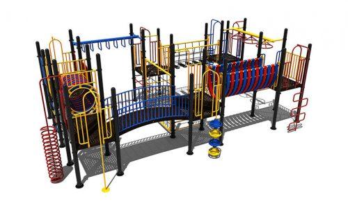 Veenendaal klimtoestel van metaal met uitdagende speelelementen en een rondgang - Klimtoestellen met glijbaan - Speeltoestellen - LuduQ speeltoestellen