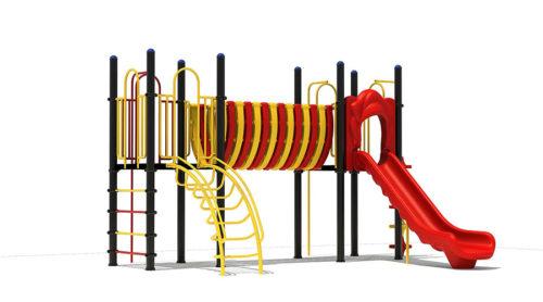 Klimtoestel met kunststoffen glijbaan en bruggetje gele trap - Klimtoestellen met glijbaan - Speeltoestellen - LuduQ speeltoestellen