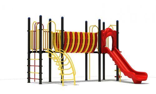 Zeewolde speeltoestel van metaal met glijbaan - Speeltoestellen - LuduQ speeltoestellen