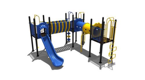 Blauw speeltoestel met kunststoffen glijbaan en gele accenten - Klimtoestellen met glijbaan - Speeltoestellen - LuduQ speeltoestellen