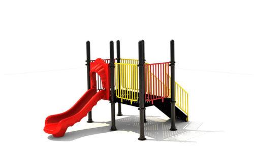 Klimtoestel met kunststof glijbaan en roestvrij stalen trappetje - Klimtoestellen met glijbaan - Speeltoestellen - LuduQ speeltoestellen