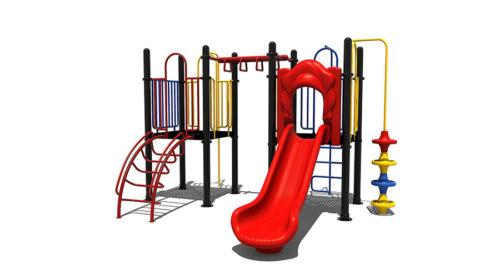 Rode kunststoffen glijbaan met klim en speelelementen - Klimtoestellen met glijbaan - Speeltoestellen - LuduQ speeltoestellen