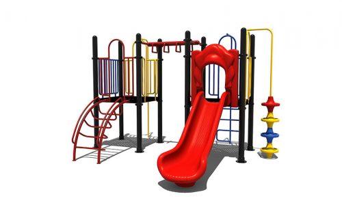 Geleen is een speeltoestel van metaal met glijbaan - Klimtoestellen met glijbaan - Speeltoestellen - LuduQ speeltoestellen