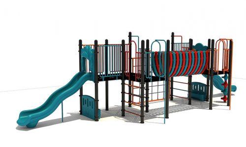 Hilversum speeltoestel van metaal met glijbaan - Speeltoestellen - LuduQ speeltoestellen