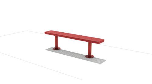 Rood bankje van roestvrij staal met gaatjes - Straatmeubilair - Sport en spel - LuduQ speeltoestellen