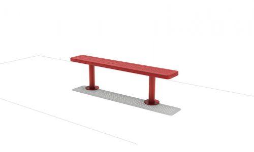 Tokyo Rood bankje van roestvrij staal met gaatjes - Straatmeubilair - Sport en spel - LuduQ speeltoestellen