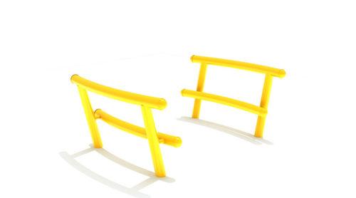 Twee gele leunbankjes - Straatmeubilair - Sport en spel - LuduQ speeltoestellen