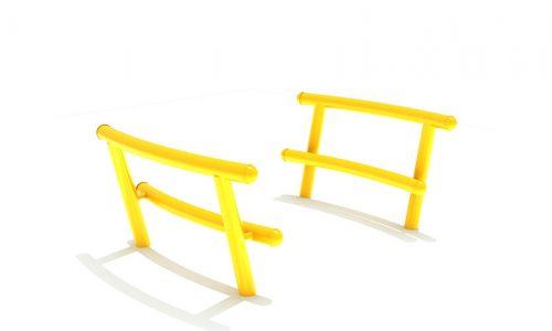 Fuji hangbank Twee gele leunbankjes - Straatmeubilair - Sport en spel - LuduQ speeltoestellen