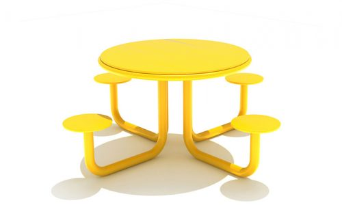 Gele roestvrij stalen tafel met vier zittingen - Straatmeubilair - Sport en spel - LuduQ speeltoestellen