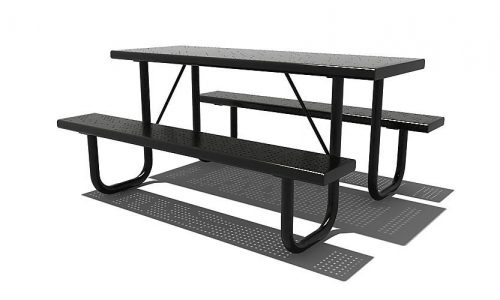 Sendai Zwarte picknickbank van roestvrij staal - Straatmeubilair - Sport en spel - LuduQ speeltoestellen