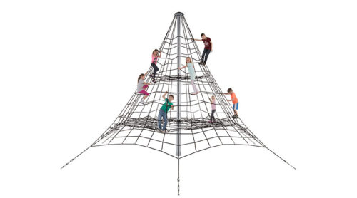 Spelende kinderen in groot klimnet met twee etages - Ruimtenetten - Speeltoestellen - LuduQ speeltoestellen