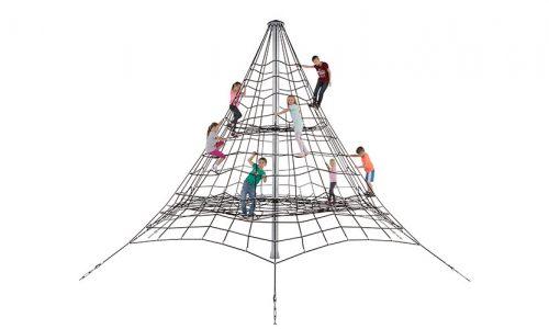 De Calgary 510 is een piramidenet - klimnet met gewapend 16mm touw - Ruimtenet - Speeltoestel - LuduQ speeltoestellen