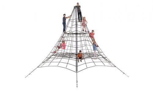 Kinderen spelen in klimnet van de grond - Ruimtenetten - Speeltoestellen - LuduQ speeltoestellen