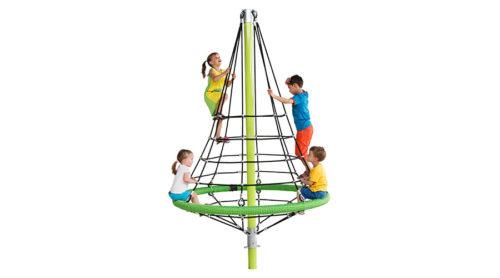 Kinderen spelen in groen klimnet - Ruimtenetten - Speeltoestellen - LuduQ speeltoestellen