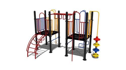 Rood klimtoestel met verschillende speelelementen - Klimtoestellen - Speeltoestellen - LuduQ speeltoestellen