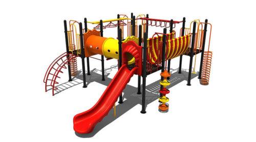 Digitale tekening geel met rood klimtoestel met oranje accenten - Klimtoestellen met glijbaan - Speeltoestellen - LuduQ speeltoestellen