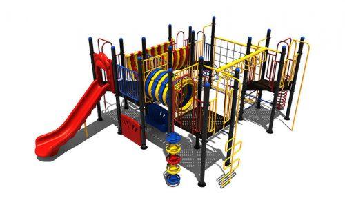 Kleurrijk klimtoestel met tunnel glijbaan en bankjes - Klimtoestellen met glijbaan - Speeltoestellen - LuduQ speeltoestellen