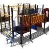 Kleurrijk klimtoestel met klimnet wand en kunststoffen glijbaan - Klimtoestellen - Speeltoestellen - LuduQ speeltoestellen